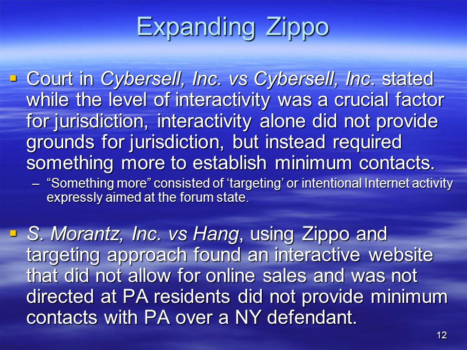 12 Expanding Zippo  Court in Cybersell, Inc. vs Cybersell, Inc.