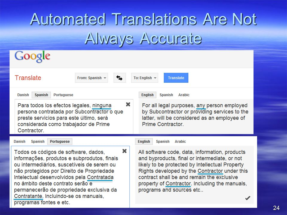 Automated Translations Are Not Always Accurate 24