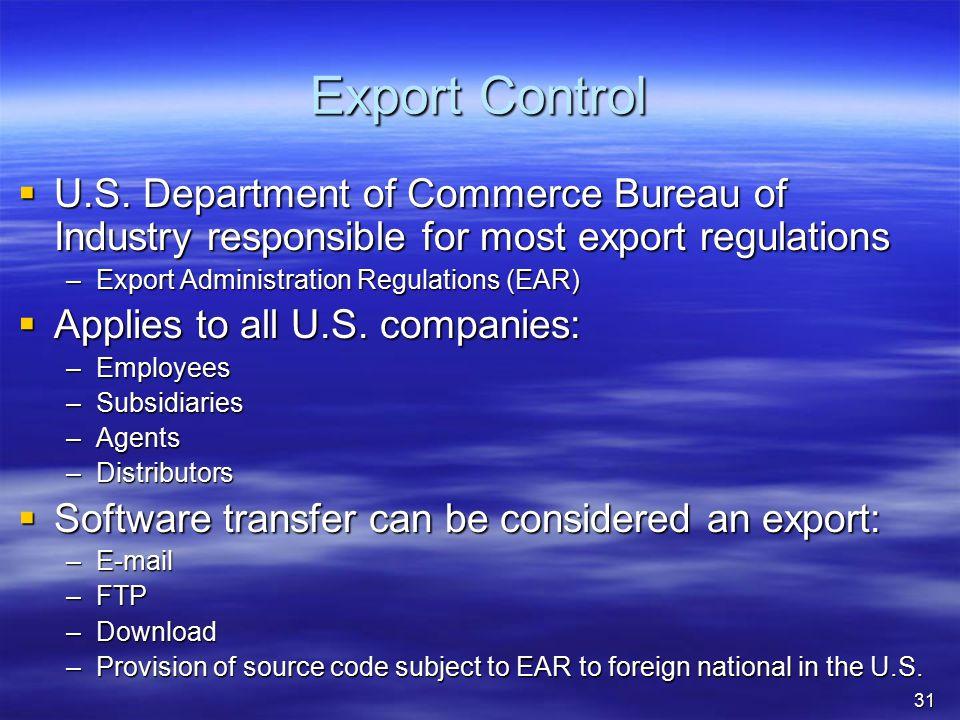 Export Control  U.S.