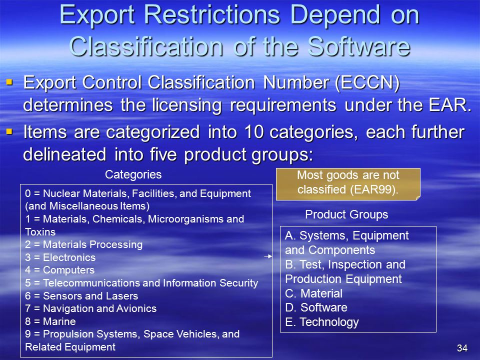 Export Restrictions Depend on Classification of the Software  Export Control Classification Number (ECCN) determines the licensing requirements under