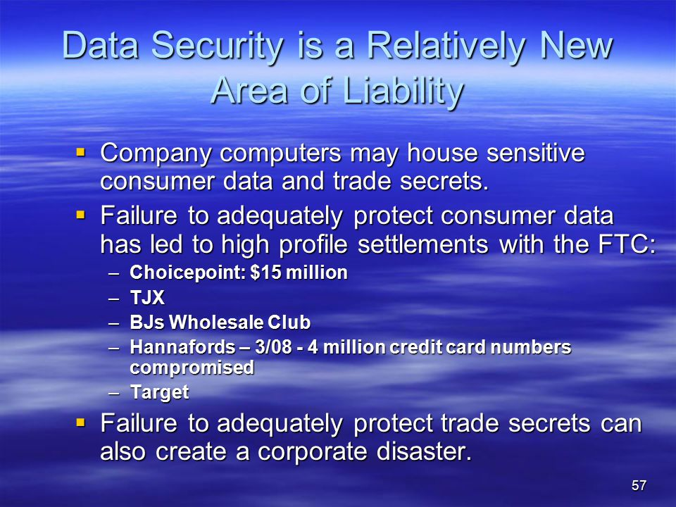 Data Security is a Relatively New Area of Liability  Company computers may house sensitive consumer data and trade secrets.