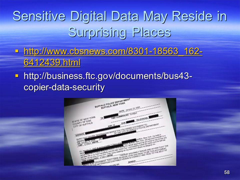 Sensitive Digital Data May Reside in Surprising Places  http://www.cbsnews.com/8301-18563_162- 6412439.html http://www.cbsnews.com/8301-18563_162- 64
