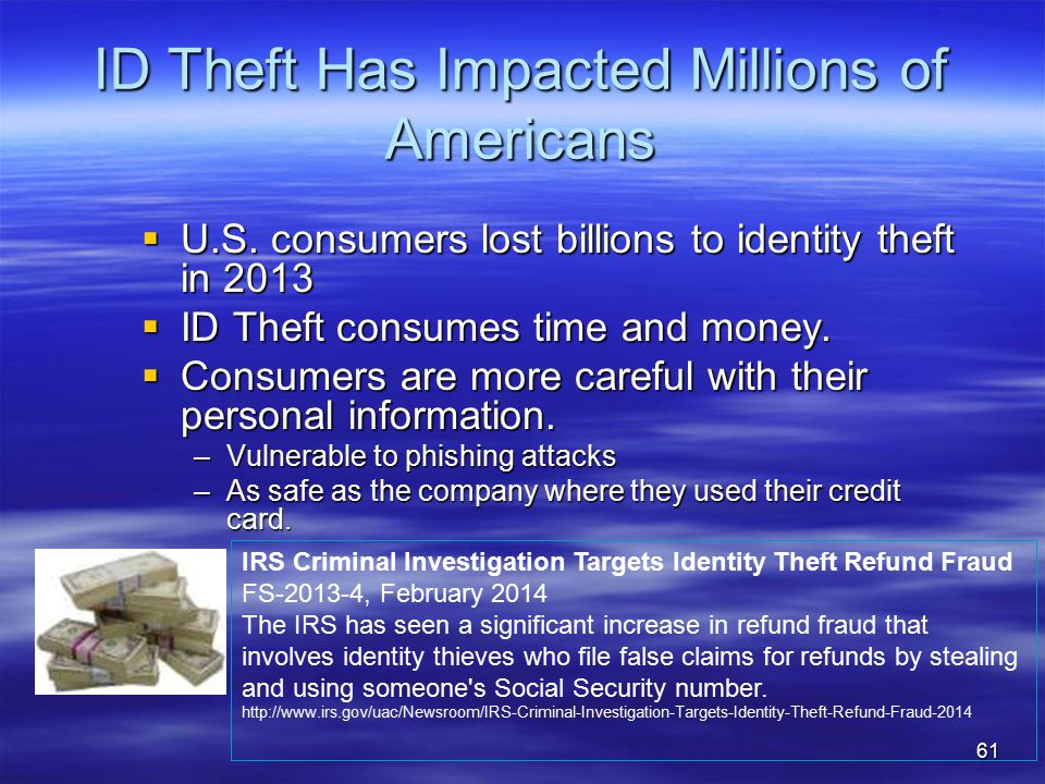 ID Theft Has Impacted Millions of Americans  U.S.