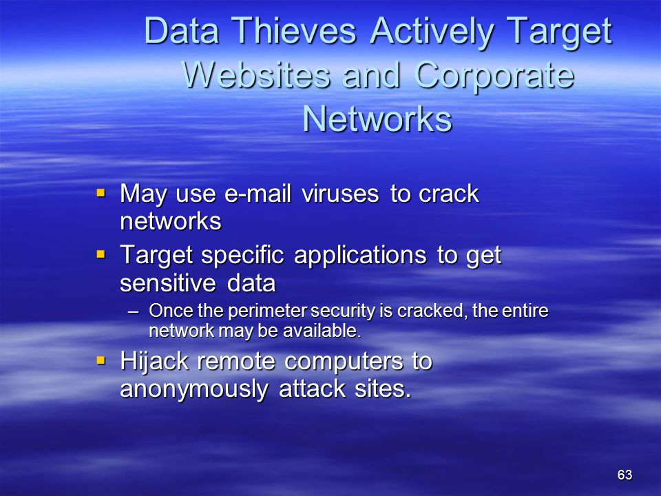 Data Thieves Actively Target Websites and Corporate Networks  May use e-mail viruses to crack networks  Target specific applications to get sensitive data –Once the perimeter security is cracked, the entire network may be available.
