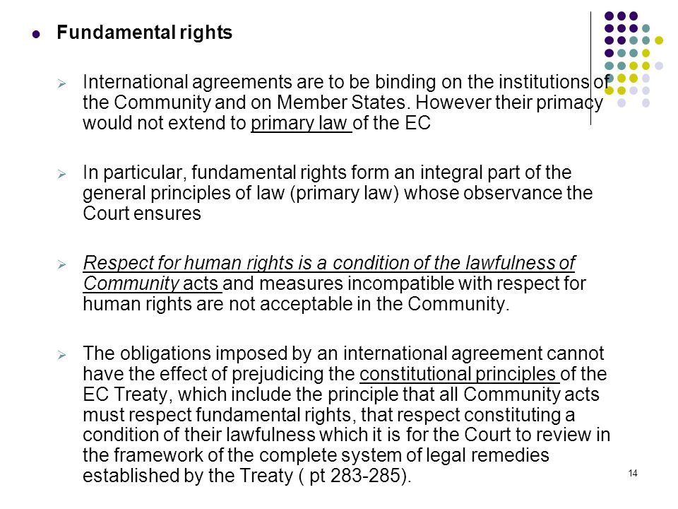 Fundamental rights  International agreements are to be binding on the institutions of the Community and on Member States.