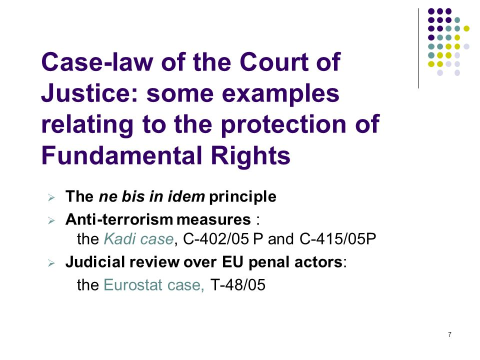 Case-law of the Court of Justice: some examples relating to the protection of Fundamental Rights  The ne bis in idem principle  Anti-terrorism measures : the Kadi case, C-402/05 P and C-415/05P  Judicial review over EU penal actors: the Eurostat case, T-48/05 7