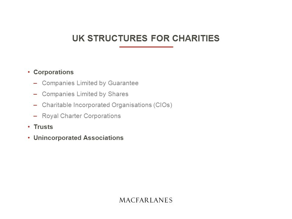 UK STRUCTURES FOR CHARITIES Corporations –Companies Limited by Guarantee –Companies Limited by Shares –Charitable Incorporated Organisations (CIOs) –Royal Charter Corporations Trusts Unincorporated Associations