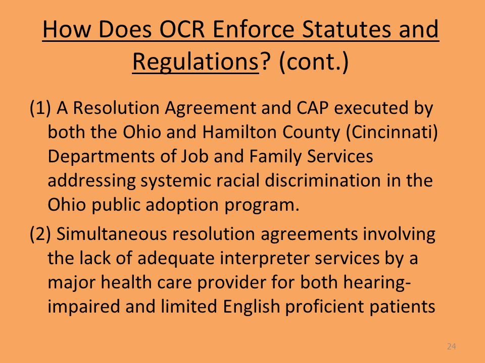 How Does OCR Enforce Statutes and Regulations.