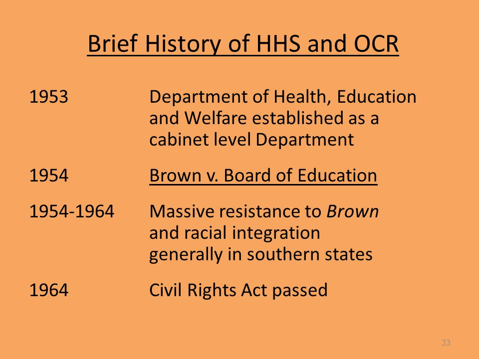 Brief History of HHS and OCR 1953Department of Health, Education and Welfare established as a cabinet level Department 1954Brown v.