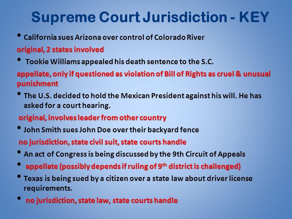 Supreme Court Jurisdiction - KEY California sues Arizona over control of Colorado River original, 2 states involved Tookie Williams appealed his death