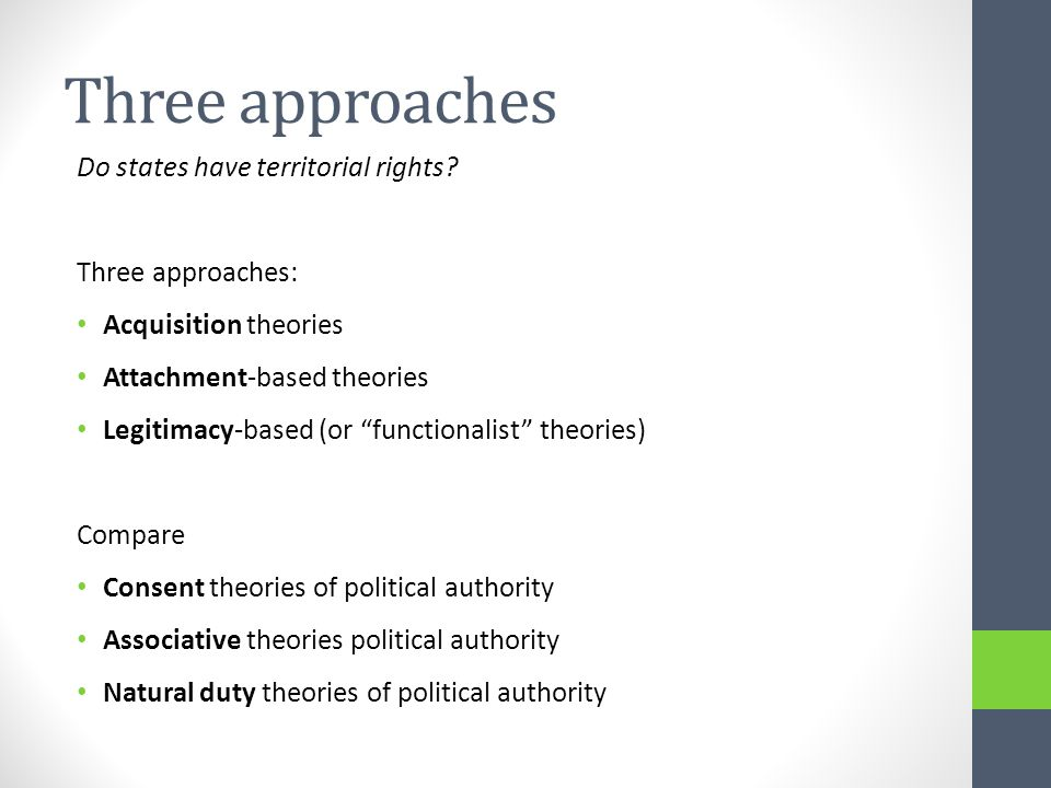Acquisition theories Analogy territorial rights – property rights Individuals (or groups) acquire property rights over certain pieces of land.
