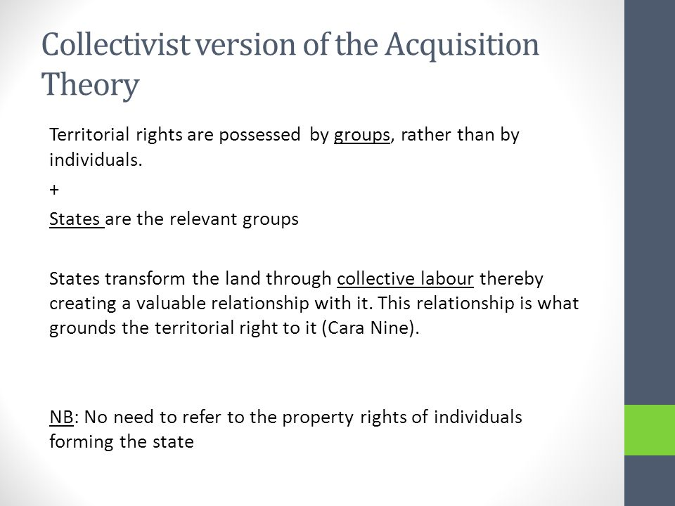 Collectivist version of the Acquisition Theory Territorial rights are possessed by groups, rather than by individuals.