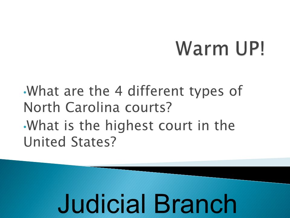  NC District Court: original jurisdiction - Hears misdemeanors and civil cases of less than $10,00  Superior Court: original jurisdiction - Hears cases in which felony crimes have been committed and civil cases of more than $10,000  NC Court of Appeals: appellate jurisdiction - Reviews cases from lower courts  NC Supreme Court: Appellate jurisdiction – hears appeals cases after NC Court of Appeals; exclusive jurisdiction for cases involving the NC Constitution