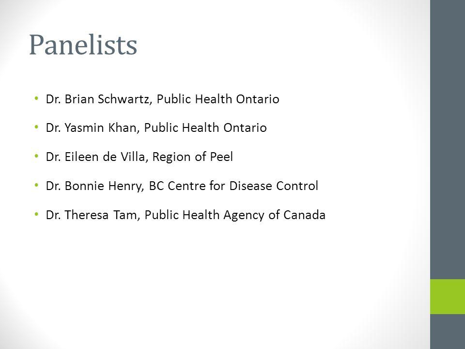 Panelists Dr. Brian Schwartz, Public Health Ontario Dr. Yasmin Khan, Public Health Ontario Dr. Eileen de Villa, Region of Peel Dr. Bonnie Henry, BC Ce