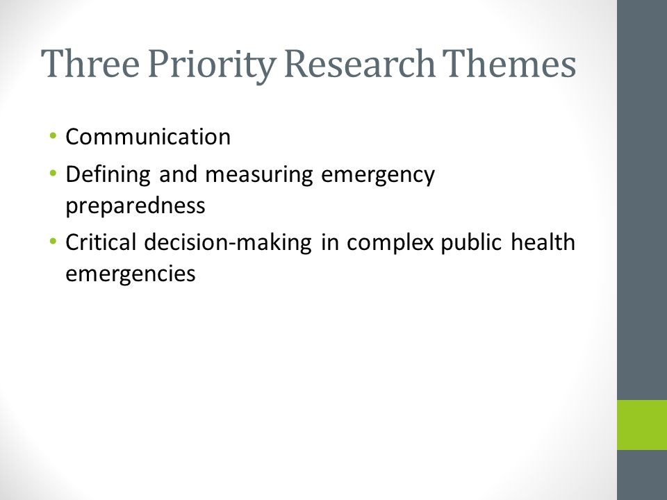 Three Priority Research Themes Communication Defining and measuring emergency preparedness Critical decision-making in complex public health emergencies