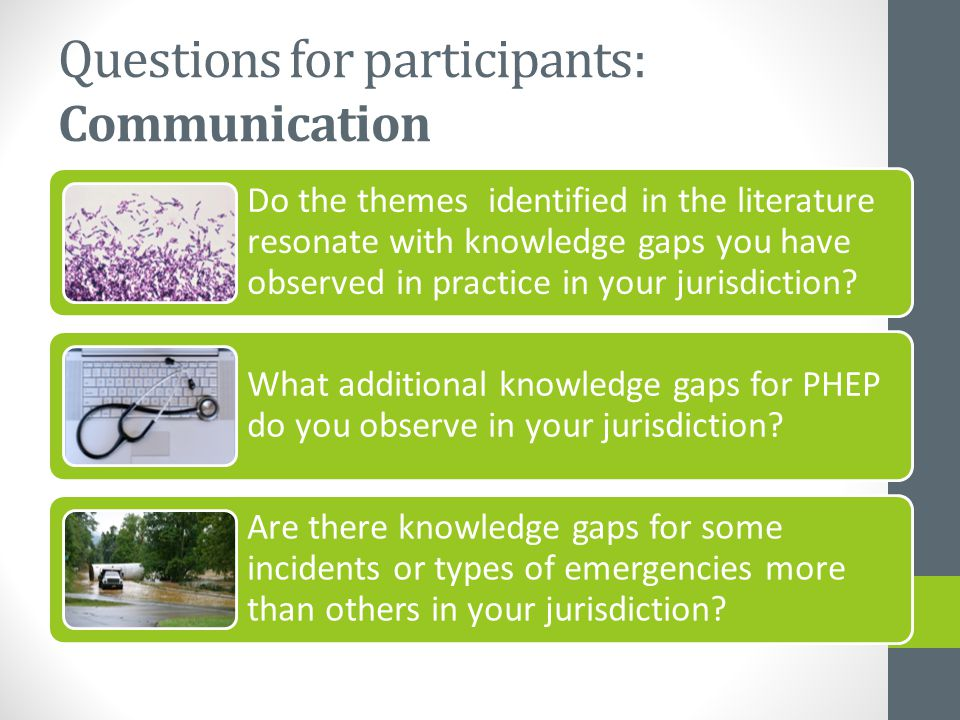 Questions for participants: Communication Do the themes identified in the literature resonate with knowledge gaps you have observed in practice in your jurisdiction.