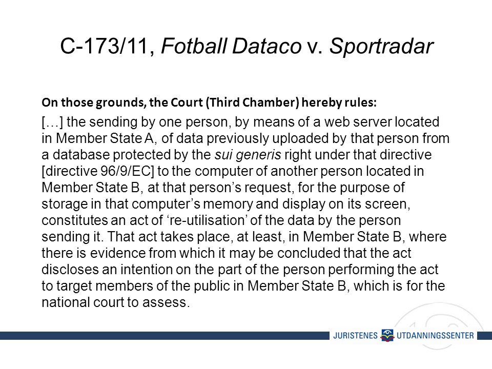 C-173/11, Fotball Dataco v.