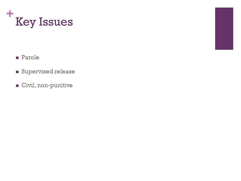 + Key Issues Parole Supervised release Civil, non-punitive