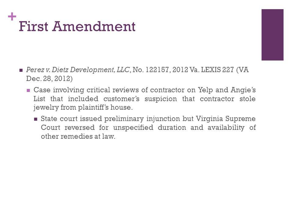 + First Amendment Perez v. Dietz Development, LLC, No.