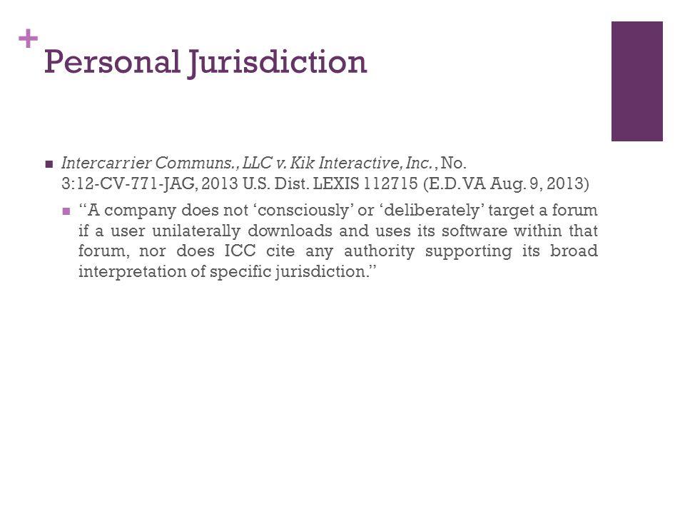 + Personal Jurisdiction Intercarrier Communs., LLC v.