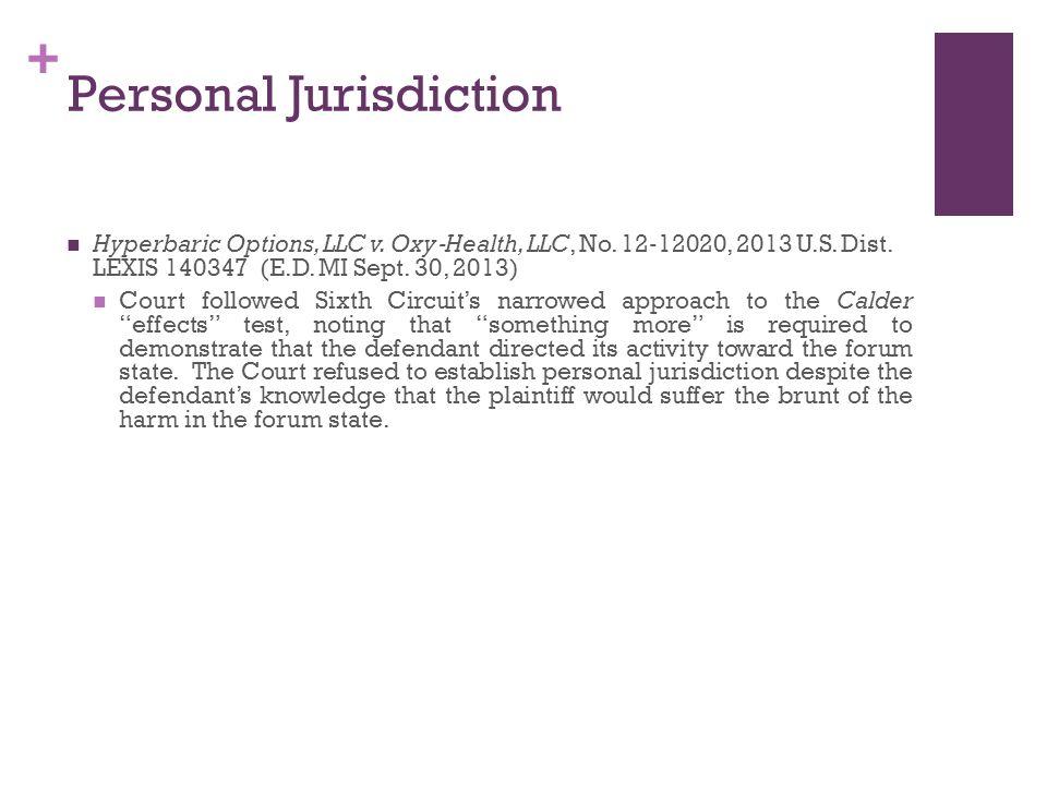 + Personal Jurisdiction Hyperbaric Options, LLC v.