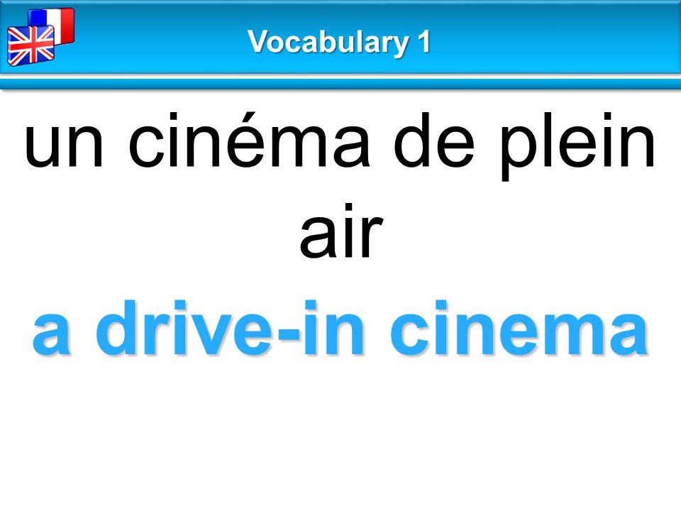 a drive-in cinema un cinéma de plein air Vocabulary 1