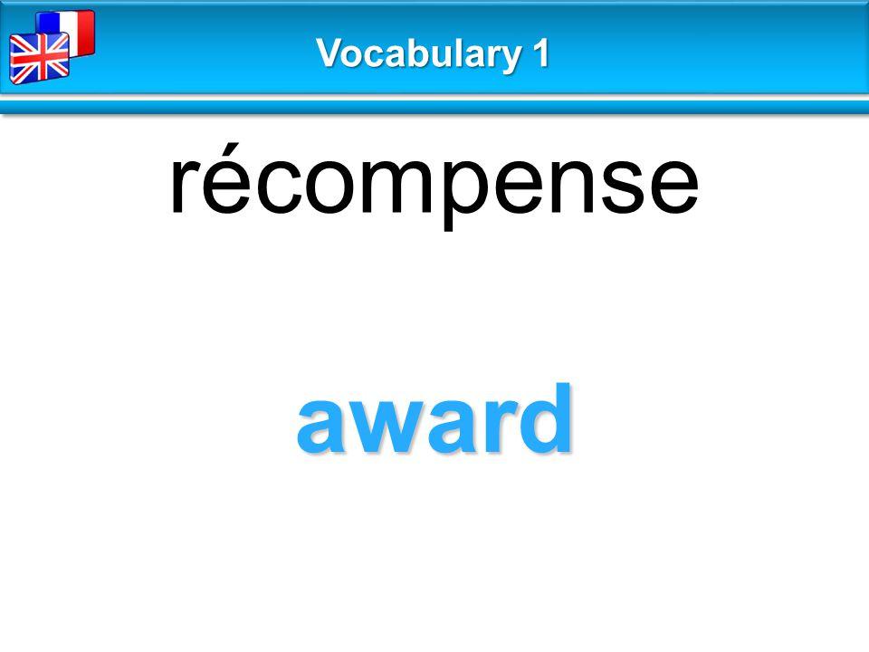 award récompense Vocabulary 1