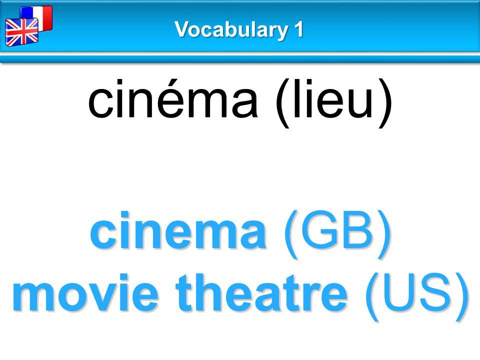 cinema (GB) movie theatre (US) cinéma (lieu) Vocabulary 1