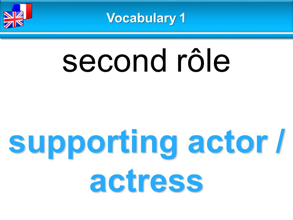 supporting actor / actress second rôle Vocabulary 1