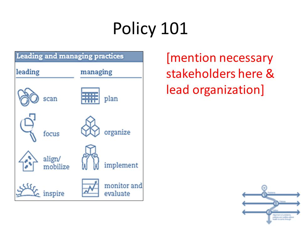 Policy 101 [mention necessary stakeholders here & lead organization]