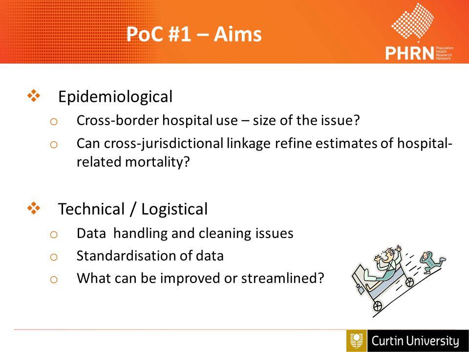 PoC #1 – Aims  Epidemiological o Cross-border hospital use – size of the issue? o Can cross-jurisdictional linkage refine estimates of hospital- rela