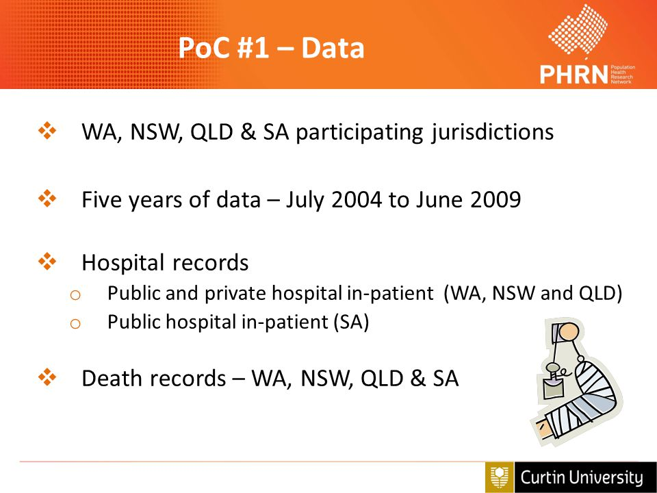 PoC #1 – Data  WA, NSW, QLD & SA participating jurisdictions  Five years of data – July 2004 to June 2009  Hospital records o Public and private ho