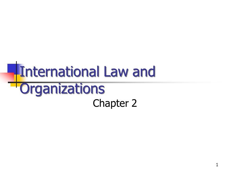 1 International Law and Organizations Chapter 2 © 2002 West /Thomson Learning