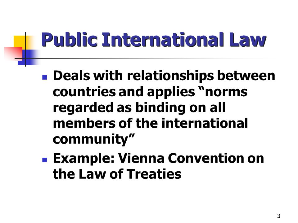 """3 Public International Law Deals with relationships between countries and applies """"norms regarded as binding on all members of the international commu"""