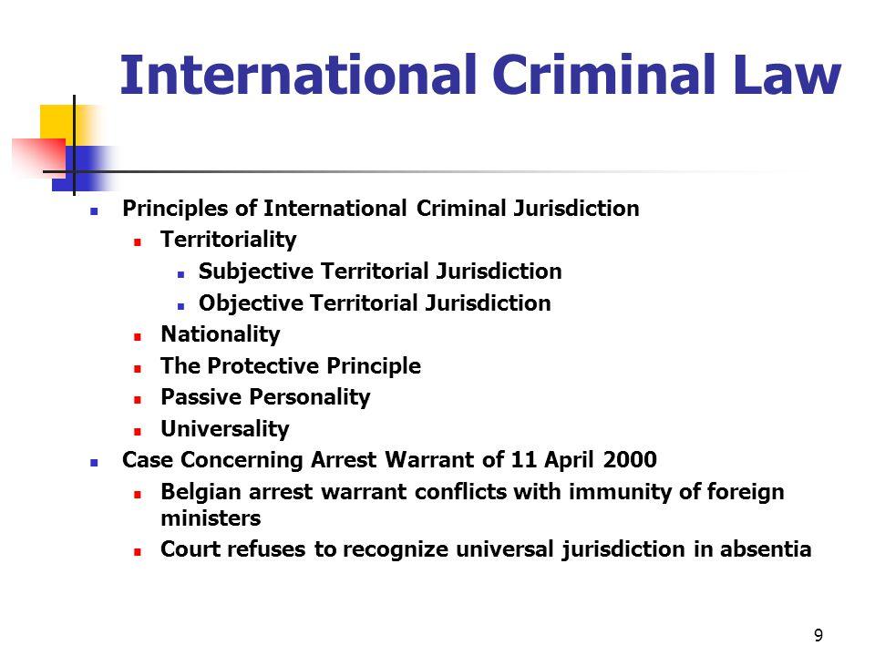 International Criminal Law Principles of International Criminal Jurisdiction Territoriality Subjective Territorial Jurisdiction Objective Territorial
