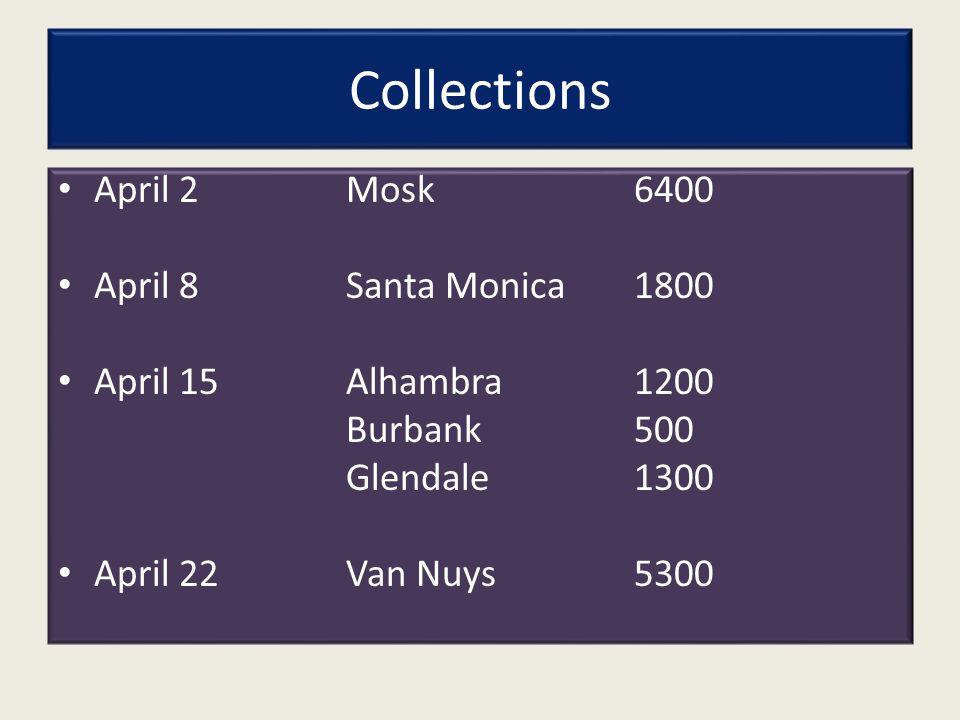 Collections April 2Mosk 6400 April 8Santa Monica1800 April 15Alhambra1200 Burbank500 Glendale1300 April 22Van Nuys 5300