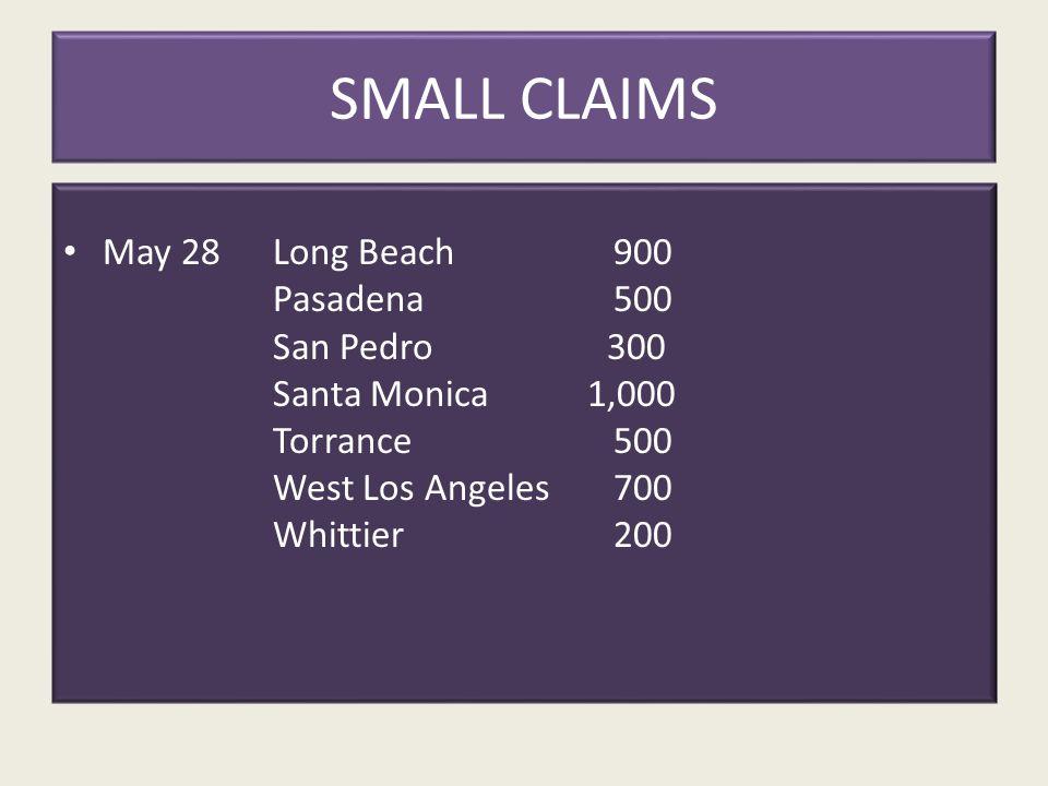SMALL CLAIMS May 28Long Beach 900 Pasadena 500 San Pedro 300 Santa Monica1,000 Torrance 500 West Los Angeles 700 Whittier 200