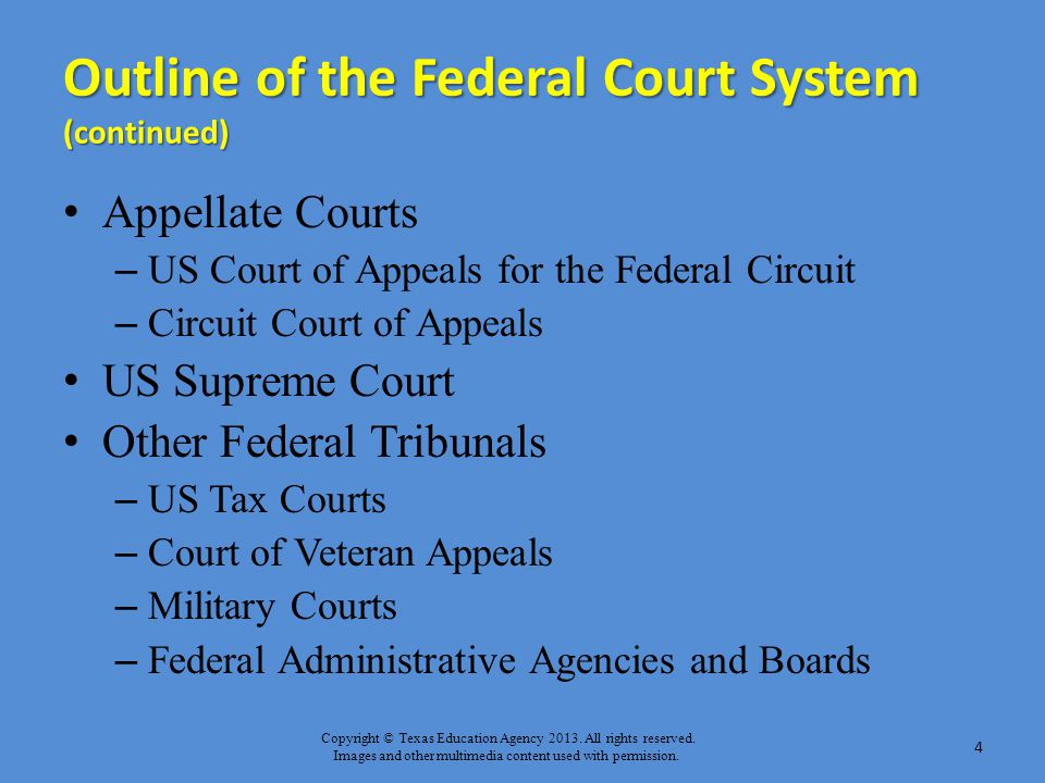 Copyright © Texas Education Agency 2013. All rights reserved. Images and other multimedia content used with permission. Outline of the Federal Court S