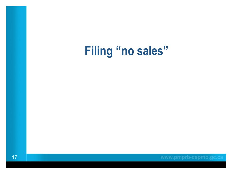 "Filing ""no sales"" 17"