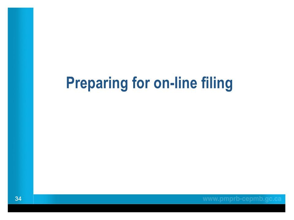 Preparing for on-line filing 34