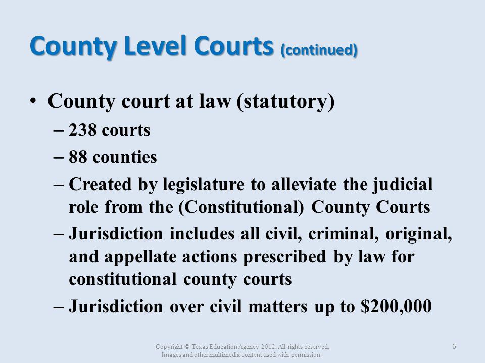 County Level Courts (continued) (Statutory) probate courts – 18 courts – 10 counties – Jurisdiction limited to probate matters 7 Copyright © Texas Education Agency 2012.