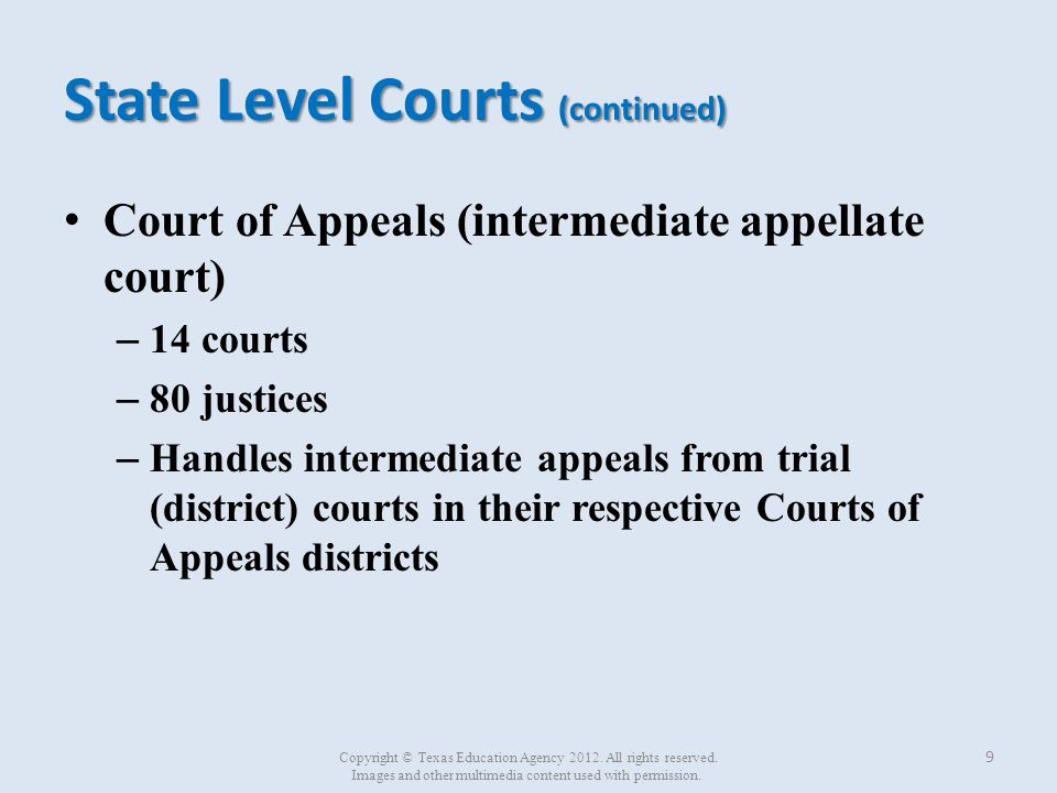 State Level Courts (continued) Court of Criminal Appeals (highest criminal appellate court) – One court – 9 judges (one presiding judge and eight other judges) Elected by statewide election Six-year terms – Final appellate jurisdiction in criminal cases – Located in Austin, TX 10 Copyright © Texas Education Agency 2012.