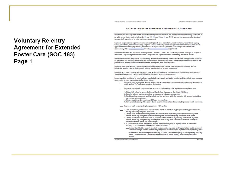 Voluntary Re-entry Agreement for Extended Foster Care (SOC 163) Page 1