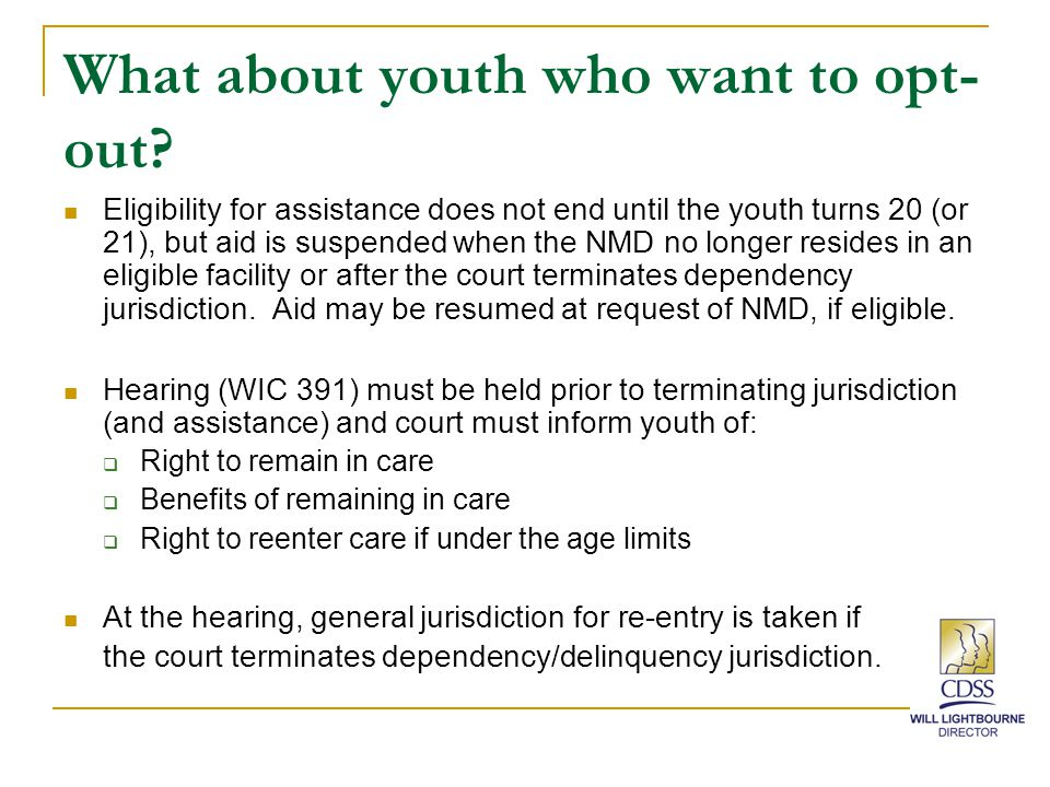 What about youth who want to opt- out.