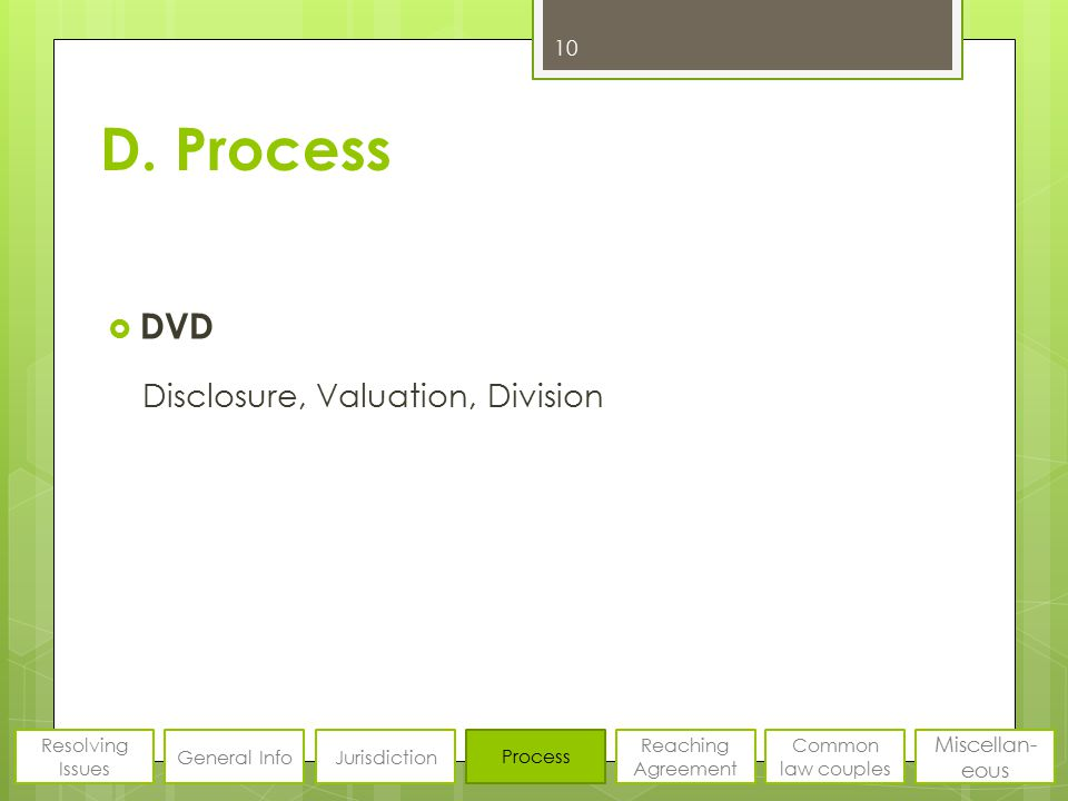 D. Process  DVD Disclosure, Valuation, Division 10 Resolving Issues General InfoJurisdiction Process Reaching Agreement Common law couples Miscellan-