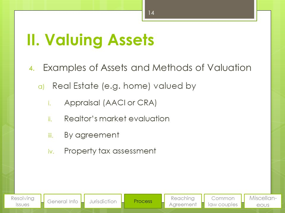 II. Valuing Assets 4. Examples of Assets and Methods of Valuation a) Real Estate (e.g. home) valued by i. Appraisal (AACI or CRA) ii. Realtor's market