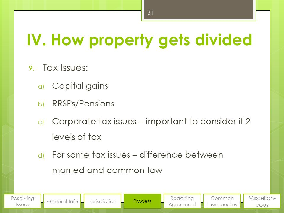 IV. How property gets divided 9. Tax Issues: a) Capital gains b) RRSPs/Pensions c) Corporate tax issues – important to consider if 2 levels of tax d)