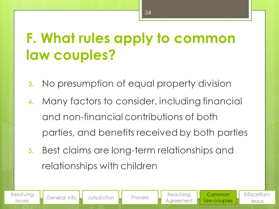 F. What rules apply to common law couples? 3. No presumption of equal property division 4. Many factors to consider, including financial and non-finan