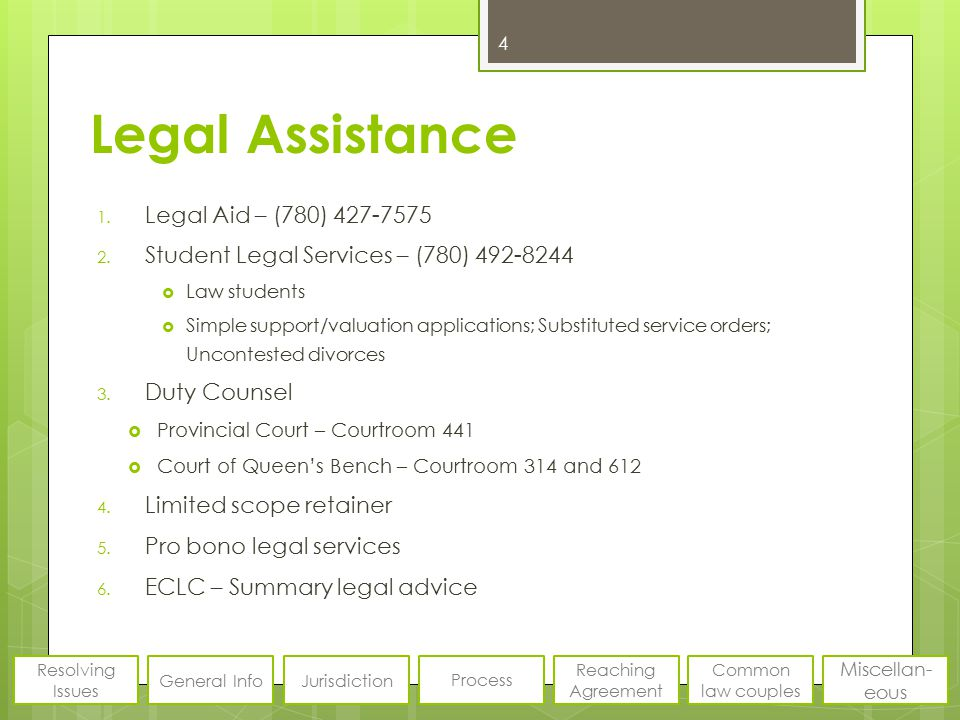 Legal Assistance 1. Legal Aid – (780) 427-7575 2. Student Legal Services – (780) 492-8244  Law students  Simple support/valuation applications; Subs