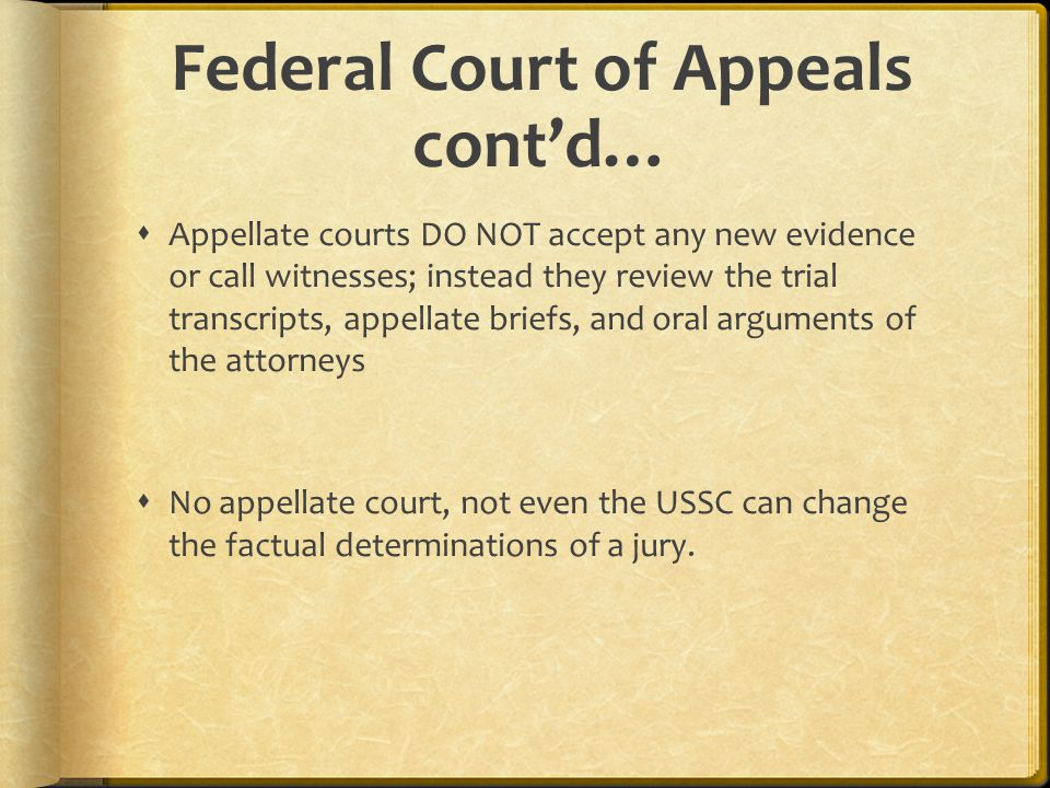 Federal Court of Appeals cont'd…  Appellate courts DO NOT accept any new evidence or call witnesses; instead they review the trial transcripts, appellate briefs, and oral arguments of the attorneys  No appellate court, not even the USSC can change the factual determinations of a jury.